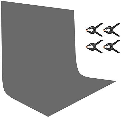 UTEBIT 7x10ft Gray Backdrop Grey Polyester Photo Backdrop with 4 Pack Clamps 2x3m Chromakey Grey Blackground Sheet Collapsible for Photography Video Shooting (Stand Not Included)