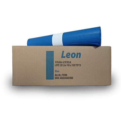 LEON extra starke Müllsäcke - 120 l blau – 10 x 20 Stück - Blaue Säcke groß - extra starke Müllbeutel - Abfallsäcke