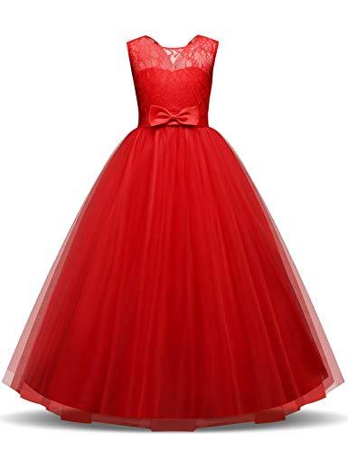 NNJXD Mädchen Kinder Spitze Tüll Hochzeit Kleid Prinzessin Kleider Größe (130) 6-7 Jahre Rot