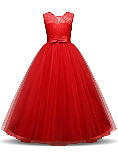 NNJXD Robe de soirée de Mariage en Tulle de Dentelle pour Les Filles Taille(160) 10-11 Ans 331 Rouge A