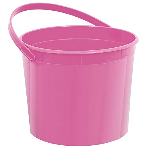 "amscan Plastic Bucket | Bright Pink | Party Accessory,6.25"" Dia x 4 1/2""H"