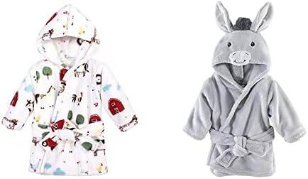 Hudson Baby Boy Plush Animal Face Bathrobe 2-Pack, Farm Animals Donkey