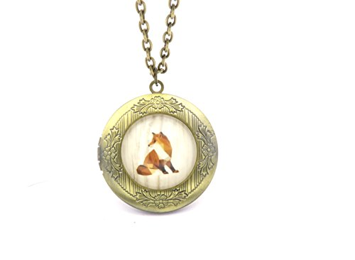 schmuck-stadt Origami Fuchs Amulett Kette 60 cm Bronze-Farben Modeschmuck