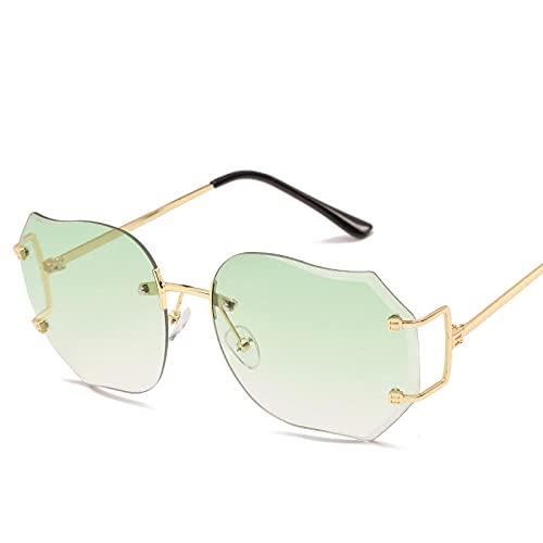 XXBFDT Sunglasses, Unisex Adulto - Pestañas irregulares Gafas de sol de gradiente transparente-Degradado verde