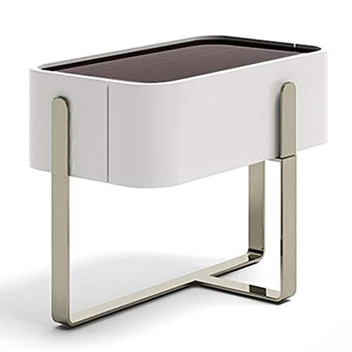 Garderobenschränke Nachttisch Schlafzimmer Massivholz Nachttisch Italienischer Stil Schrank Kleine Wohnung Lagerschrank (Color : Weiß, Size : 50 * 50 * 40cm)