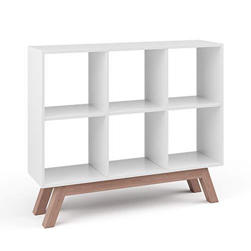 Vicco Raumteiler Karree 6 Fächer Bücherregal Standregal Aktenregal Hochregal Aufbewahrung Regal (Weiß + Fuß 103cm Teak)