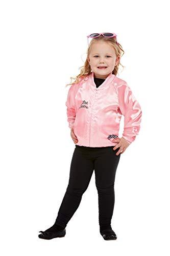 Smiffys-27490S Cantante Licenciado Oficialmente Cazadora de Las Pink Ladies de Grease, Rosa, con Logotipo, Color Rosado, S-Edad 4-6 años (Smiffy'S 27490S)