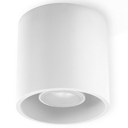 NEU! Weiße Deckenleuchte für die Küche und das Wohnzimmer - Aluminium - SOLLUX ORBIS 1 SL.0021 runde moderne Deckenleuchte Loft 1-flg. LED Gu-10 *** LEUCHTEN - Bei Amazon für den günstigsten Preis!