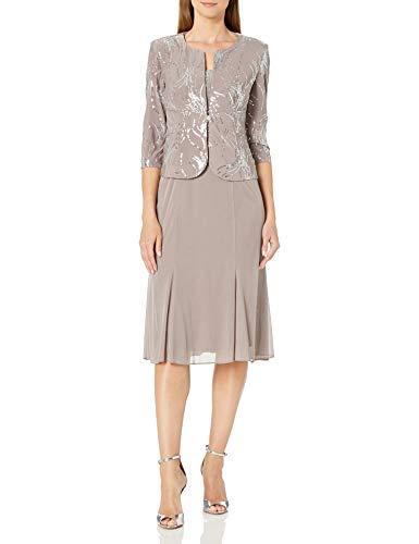 Alex Evenings Women's Plus Size Tea Length Button-Front Jacket Dress, pewter/frost, 16W