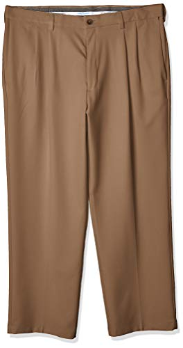 Haggar Men's Cool 18 PRO Classic Fit Flat Front Expandable Waist Pant, Toast, 36Wx29L