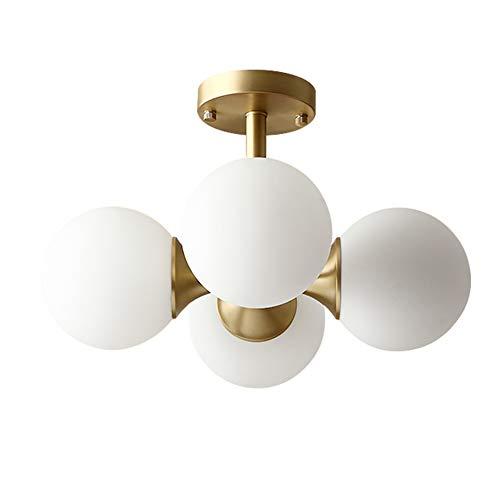 HoaLit Vaso Bola 4-brazos Lámpara De Techo, E27 Blanco Pantalla De Lámpara Plafón Con Latón Metálico Base Moderno Lámpara De Araña Para Dormitorio Comedor-dorado