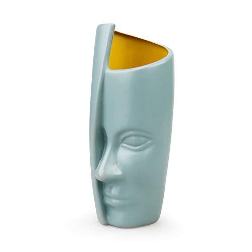 King Style - Vaso per fiori in plastica per il viso umano, ideale per soggiorno, ufficio, decorazione della casa, decorazione per matrimoni, colore: verde chiaro