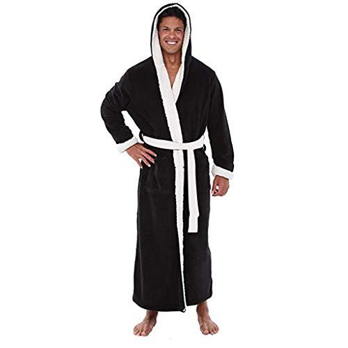 POLP Albornoz Hombre Unisex Casa Albornoz Hombre Ducha Bata de Baño Ropa de baño Pijamas de una Pieza Batas Albornoz para Hombre Súper Suave camisón Largo Abrigo con Capucha S-5XL