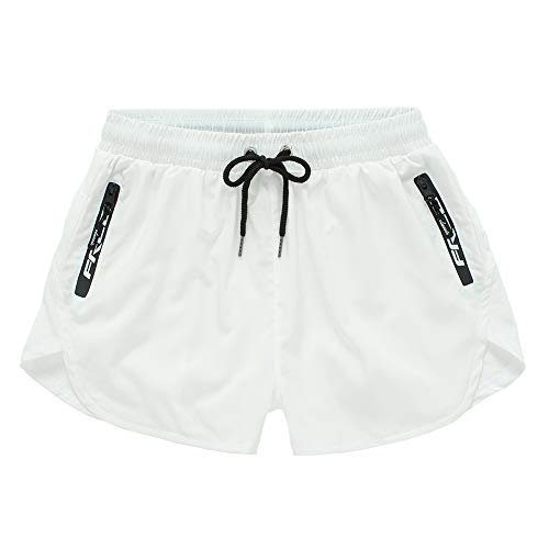 Meerway Bañador Hombre Bañadores de Natación para Hombre Pantalón Cortos Shorts Trajes de Baño Cortos 2 in 1 Quick Dry Cremallera Bolsillo