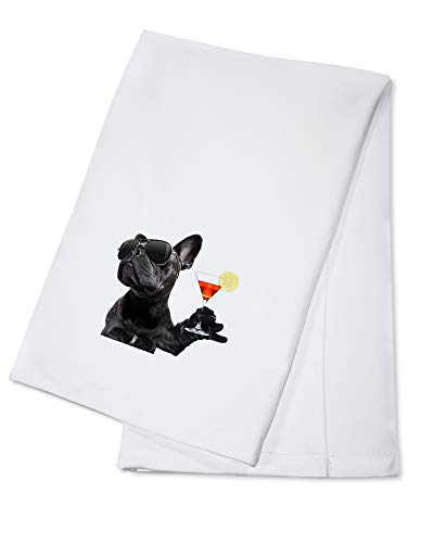 Funny Black French Bulldog Drinking a Cocktail & Wearing Sunglasses 9008546 (100% Cotton Kitchen Towel)