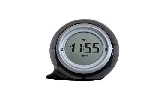 FACKELMANN 63600 wasserbetriebene Uhr Tecno, Tischuhr mit Weckfunktion, umweltfreundliche Digitaluhr (Farbe: Grau), Menge: 1 Stück, Kunststoff