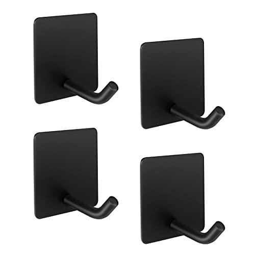 LJLink Ganchos autoadhesivos de alto rendimiento para toallas, 4 unidades, color negro, ganchos de pared cuadrados de acero inoxidable para cocina, baño, armario