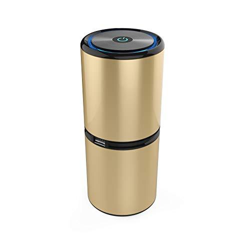 Draagbare luchtreiniger, ionisator, compacte, negatieve ionisator, geen noodzaak voor filter, voor auto, huis, kantoor, verwijdering van rook, PM2,5 allergieën, ziektekiemen, beige