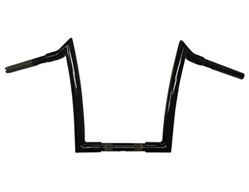 Dominator Industries 1 1/4 Meathook Monkey Ape Hanger Handlebar, 12' Rise Compatible With 1996-2017 Dyna, Softail, Sportster and 1998-2013 Road Glide, 2018 2021 Street Bob Gloss Black