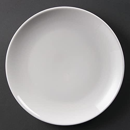 Olympia Whiteware Assiettes Coupe Rondes en Porcelaine Blanche 250mm - Empilable et Résistant au Lave Vaisselle - Paquet de 12