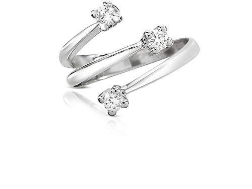 Anello Fidanzamento Trilogy Oro 18kt 750 con Diamanti Naturali 0,24CT F VVS