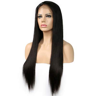 WYN123 Wigs for women human hair Front lace chemical fiber wig black mid-length straight hair hand-woven headgear