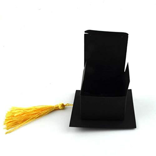 Queenaal Candy Box Doctor Hat Boda Candy Box Graduación Promoción Fiesta de celebración (Negro) (espigas Amarillas)