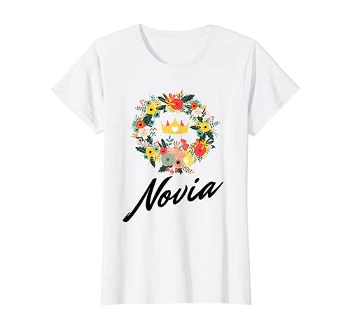 Mujer Traje original de despedida de soltera para la novia. Floral Camiseta