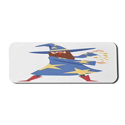 N\A Alfombrilla de ratn para Ordenador Wizard, Divertida Caricatura de Mago con Disfraz y Sombrero estrellados, Alfombrilla Rectangular de Goma Antideslizante Grande Multicolor