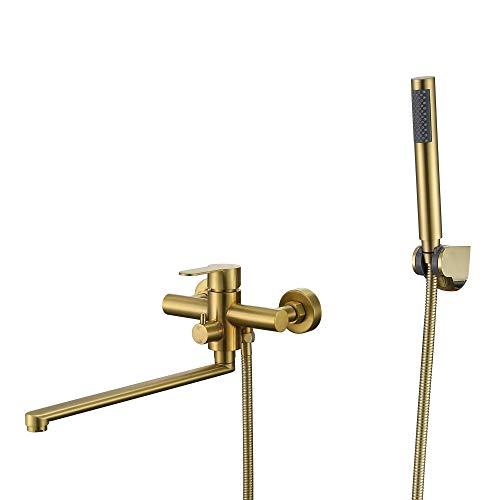 HomeLava Grifo de bañera con alcachofa de mano, grifo de bañera, grifo mezclador de una sola palanca, con manguera de ducha de 1,5 m para baño, ducha, bañera, dorado cepillado