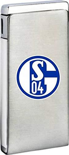 FC Schalke 04 Metall Feuerzeug Mona Piezo Chrom - Plus Lesezeichen I Love Gelsenkirchen
