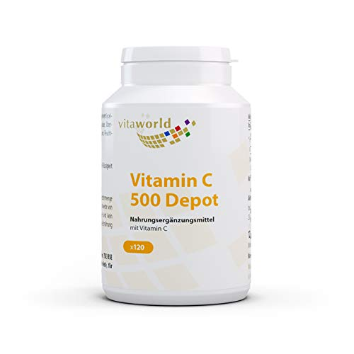 Pack de 3 Vitamina C 500mg liberación progresiva 3 x 120 Cápsulas Vita World Farmacia Alemania