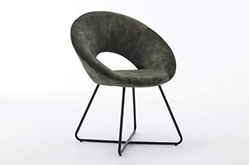 Duhome Silla de Comedor diseño Vintage con Brazos Silla tapizada sillón con Patas de Metallo 439D Vintage, Color:Verde, Material:Terciopelo Vintage