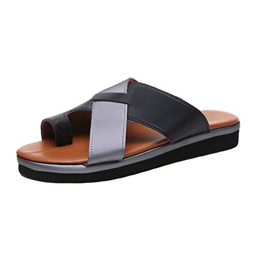 Kolylong® Damen Keil Sandale Hausschuhe Komfort Kreuz Offener Zeh Eben Tanga Flip Flops Sommer Mode Draussen Strand Schuhe