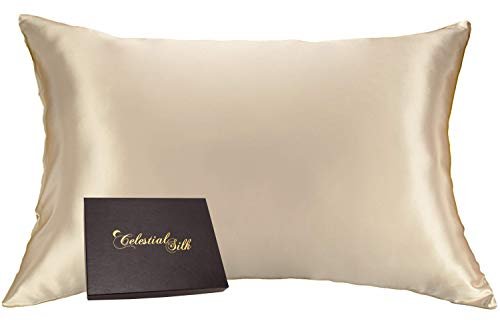 Celestial Silk 100% Silk Pillowcase for Hair Zippered Luxury 25 Momme Mulberry Silk Charmeuse Silk on Both Sides of Pillow Cover -Gift Wrapped- (Queen, Taupe)