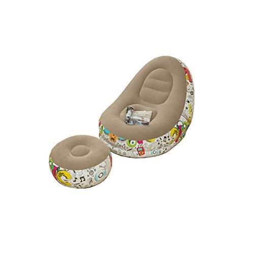 Sedia A Sdraio con Poggiapiedi Incluso Sgabello da Tavolo Pouf, Poltrona Gonfiabile Portatile con Sgabello Poggiapiedi (Lettino 2 Pezzi) Grigio