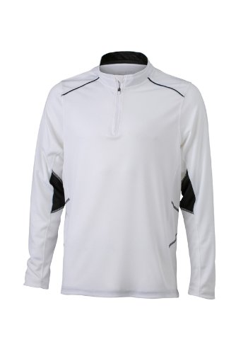 JAMES & NICHOLSON Mens Running Shirt, Blanc (White/Black), (Taille Fabricant: Large) Homme
