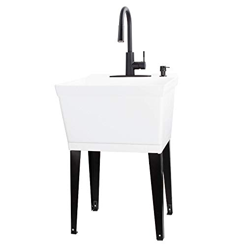 VETTA White Utility Sink Laundry Tub With High Arc Black...