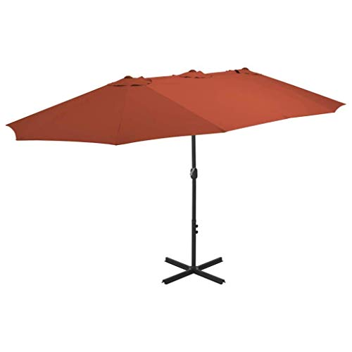 CHHD Garden Parasols Outdoor Parasol with Aluminium Pole 460x270 cm Terracotta Home Garden Lawn Garden Outdoor Living Outdoor Umbrellas Sunshades