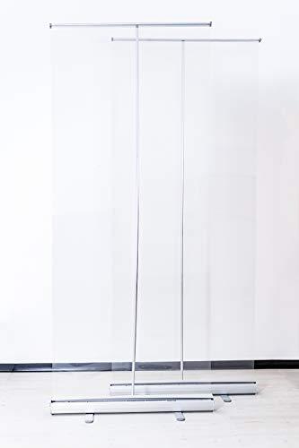 Hygieneschutz Rollup Budget   2 Stück   Tragbare Transparente Trennwand/Spuckschutz (85 x 200 cm)
