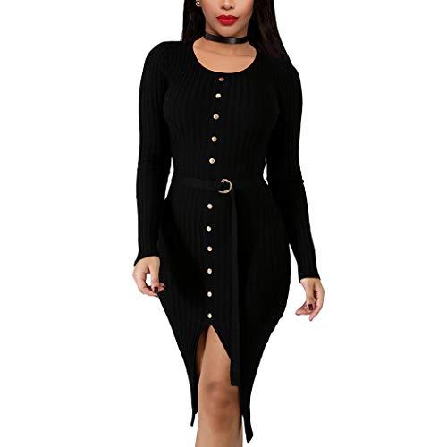 Finerun Womens Strickkleid Langarm Pullover Kleid Bodycon Split Party Maxi-Kleid