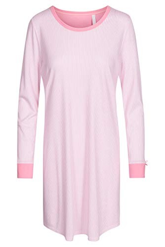 Rösch Damen Basic-Nachthemd Langarm Bigshirt in pastellfarbenem Steifen-Blumenprint und farblich abgesetzten Armbündchen aus der Serie SMART Casual, Gr. 36-50, Artikel 1884150 46 Aurora Pink