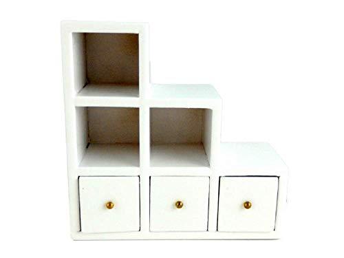 Melody Jane Muebles Miniatura para Casa de Muñecas Moderno Blanco Cubo Cuadrado Caja Almacenamiento Pantalla Unidad
