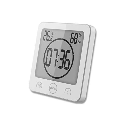 HONPHIER Dusche Uhr Badezimmer Uhr Digital Große Anzeige Touchscreen Timer mit Temperatur Luftfeuchtigkeit Display für Badezimmer Dusche Küche (Weiß)