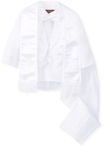 Joey Couture Traje de bautizo de satén bordado de 6 piezas para niño - blanco - 24 meses
