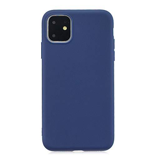 cuzz Funda para iPhone 11+{Protector de Pantalla de Vidrio Templado} Carcasa Silicona Suave Gel Rasguño y Resistente Teléfono Móvil Cover-Azul Oscuro