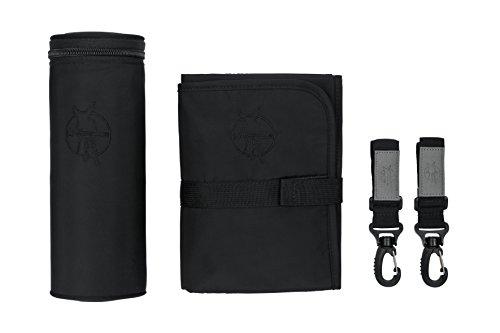 LÄSSIG Baby Wickelaccessoires Wickelunterlage Flaschenwärmer Kinderwagenbefestigung/Glam Signature Bag Accessories, black