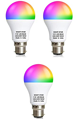 NIGHT STAR Light 7 Color in 1 Led Bulb with 9 Functions for Home Party and Disco led Bulb (Red/Pink/Blue/Yellow/Green/Sky Blue/White) New Technology Switch Based (Pack of 3)