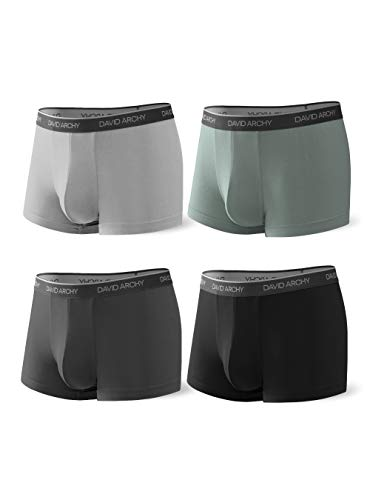 DAVID ARCHY Men's 4 Pack Underwear Ultra Soft Comfy Breathable Bamboo Rayon Trunks No Fly (XXL, Black/Dark Gray/Green/Gray)