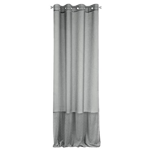 Eurofirany Gordijn, fluweel, glad, edele fluweel, zilver, steentjes, 8 ogen, elegant, hoogwaardig glamour, slaapkamer, woonkamer, glitter, 135 x 250 cm